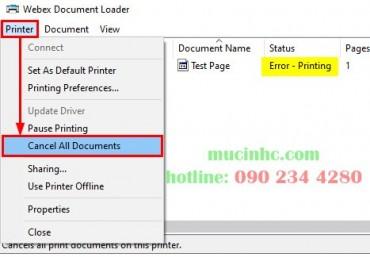 Sửa lỗi Error Printing trên windows 11