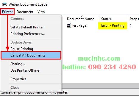 Error Printing trên windows 11